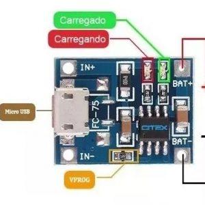 MÓDULO CARREGADOR DE BATERIA LITIO – TP4056